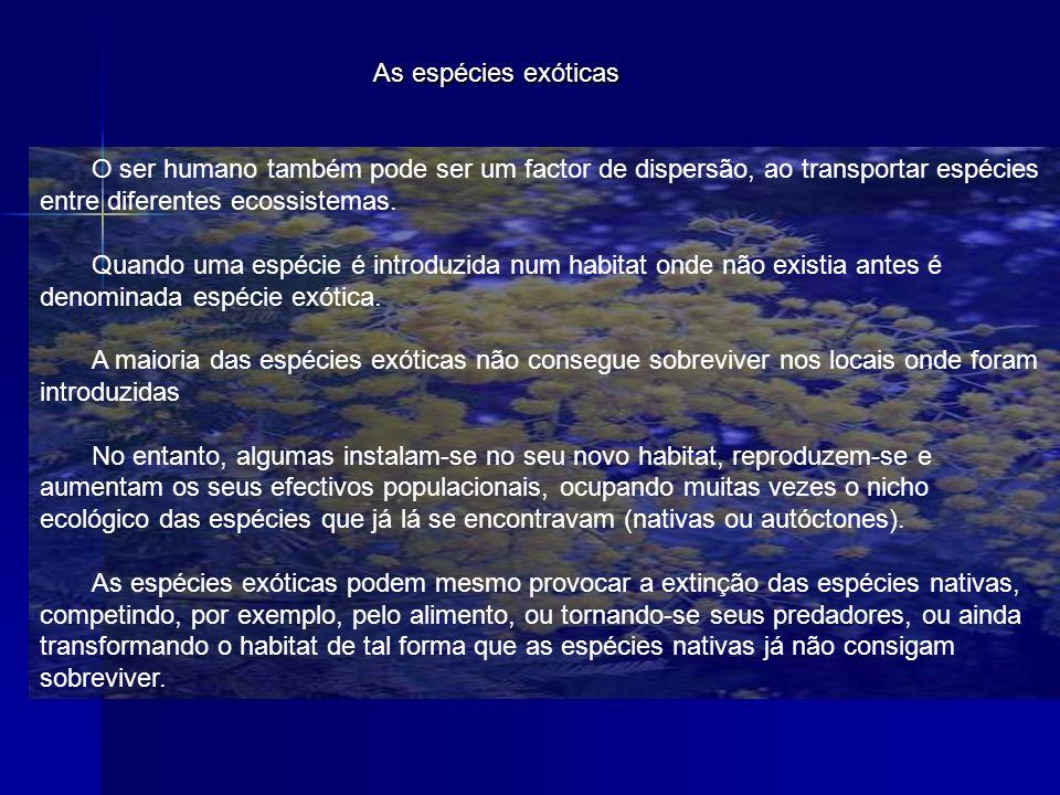 As espécies exóticas O ser humano também pode ser um factor de dispersão, ao transportar espécies entre diferentes ecossistemas.