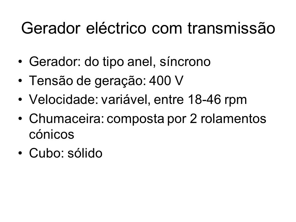 Gerador eléctrico com transmissão