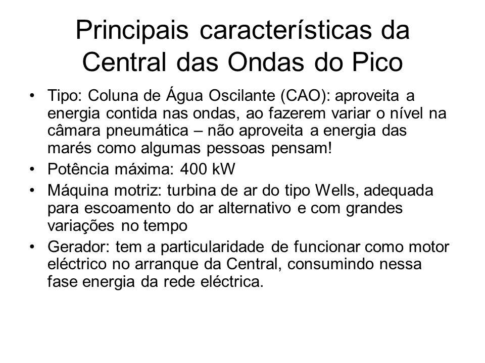 Principais características da Central das Ondas do Pico