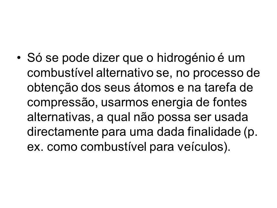 Só se pode dizer que o hidrogénio é um combustível alternativo se, no processo de obtenção dos seus átomos e na tarefa de compressão, usarmos energia de fontes alternativas, a qual não possa ser usada directamente para uma dada finalidade (p.