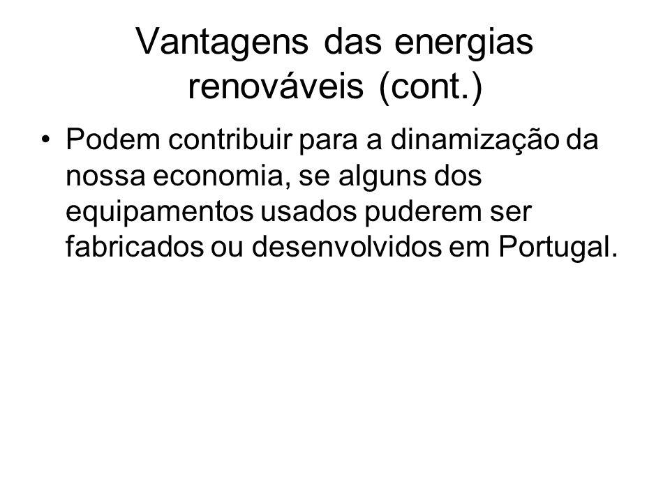 Vantagens das energias renováveis (cont.)