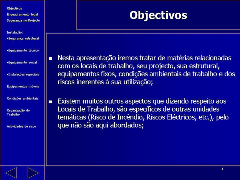 ObjectivosObjectivos. Enquadramento legal. Segurança no Projecto. Instalação: Segurança estrutural.