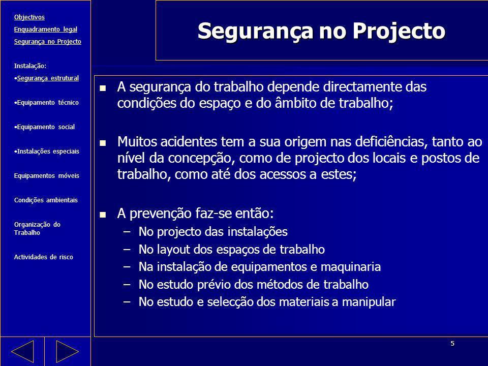 Segurança no Projecto Objectivos. Enquadramento legal. Segurança no Projecto. Instalação: Segurança estrutural.