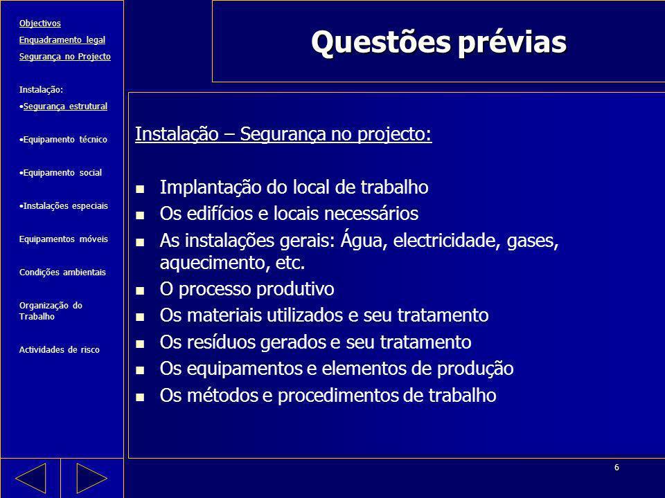 Questões prévias Instalação – Segurança no projecto: