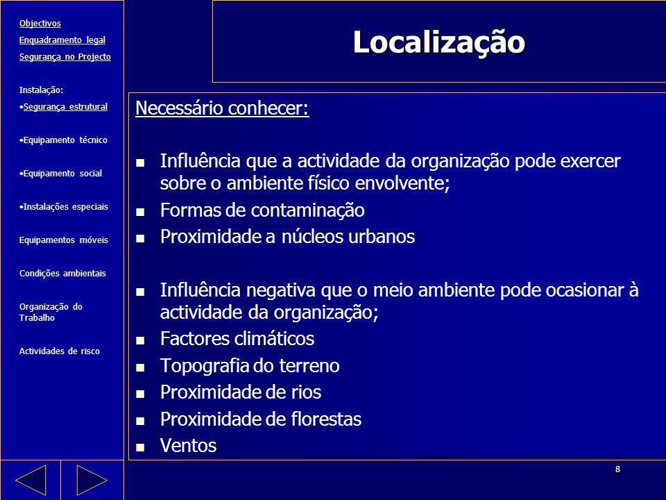 Localização Necessário conhecer: