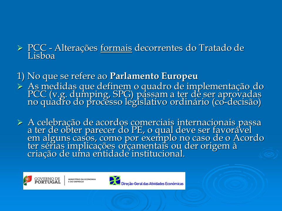 PCC - Alterações formais decorrentes do Tratado de Lisboa