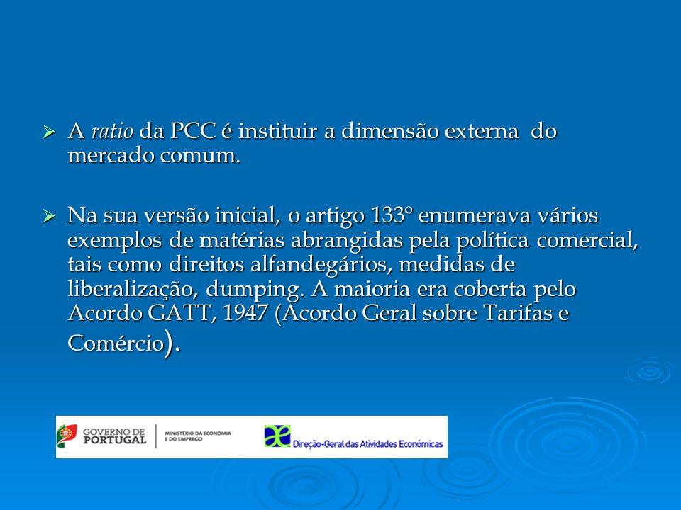 A ratio da PCC é instituir a dimensão externa do mercado comum.