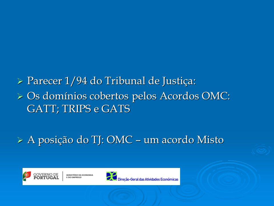 Parecer 1/94 do Tribunal de Justiça: