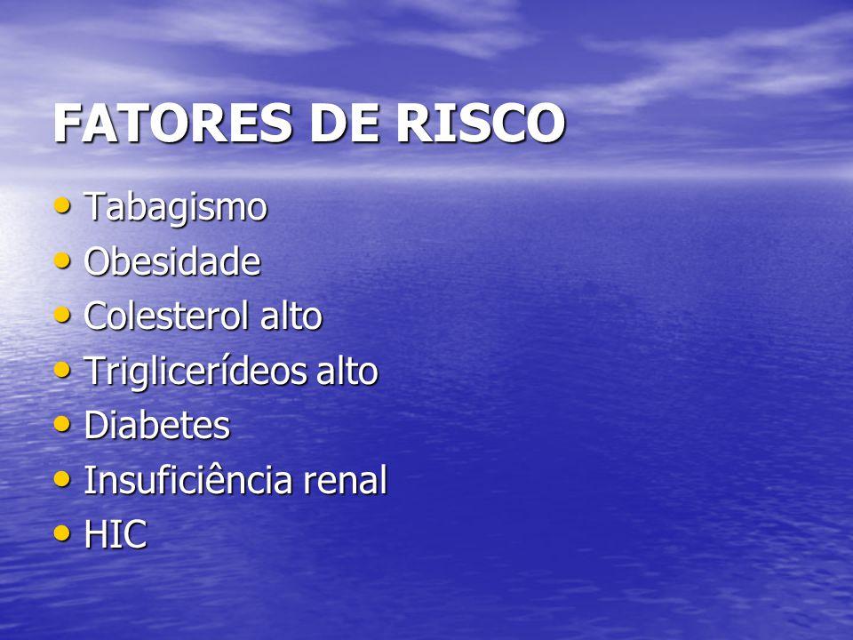 FATORES DE RISCO Tabagismo Obesidade Colesterol alto