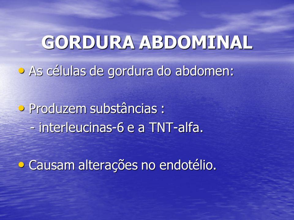 GORDURA ABDOMINAL As células de gordura do abdomen:
