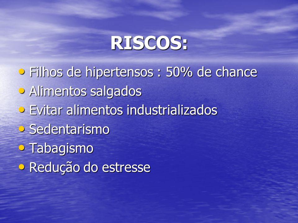RISCOS: Filhos de hipertensos : 50% de chance Alimentos salgados