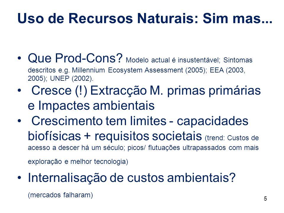 Uso de Recursos Naturais: Sim mas...