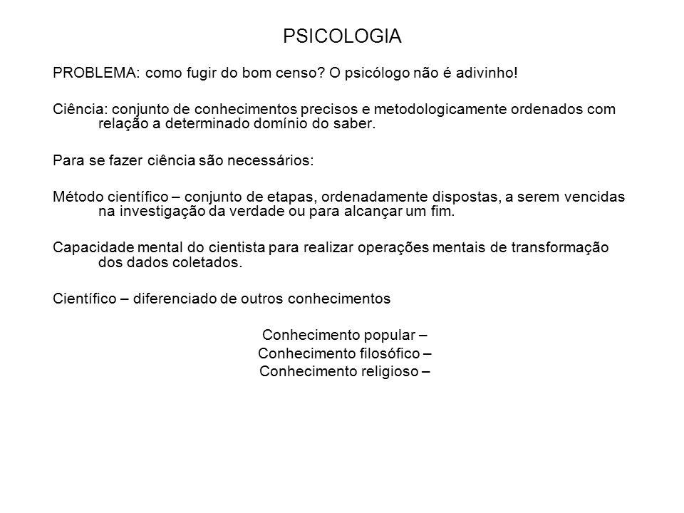 PSICOLOGIA PROBLEMA: como fugir do bom censo O psicólogo não é adivinho!