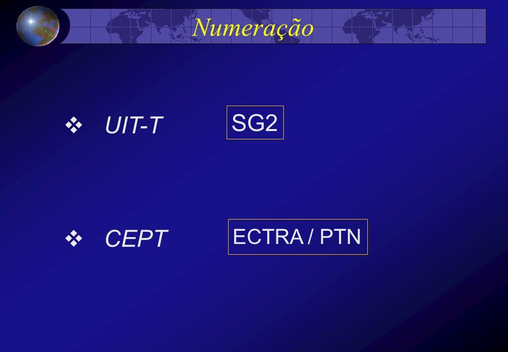 Numeração UIT-T SG2 CEPT ECTRA / PTN