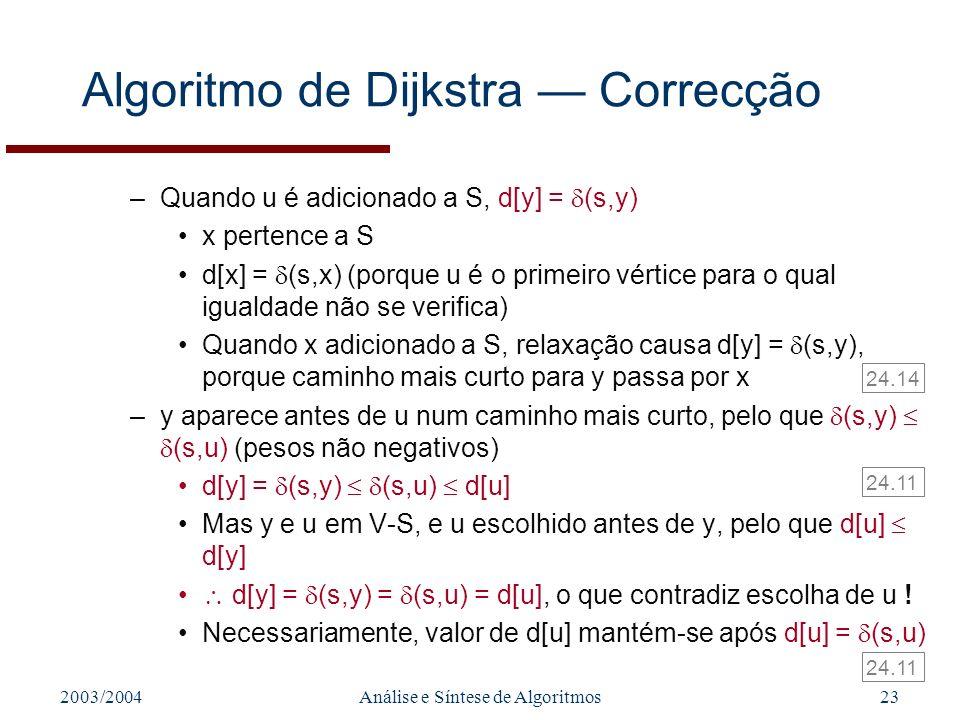 Algoritmo de Dijkstra — Correcção