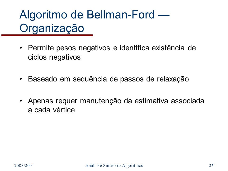 Algoritmo de Bellman-Ford — Organização