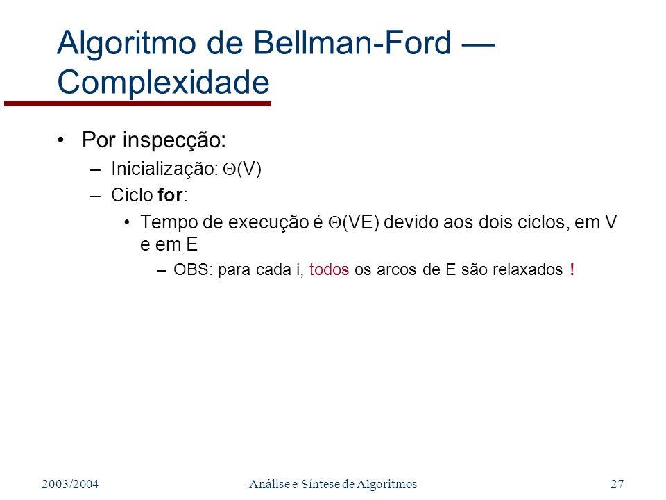 Algoritmo de Bellman-Ford — Complexidade