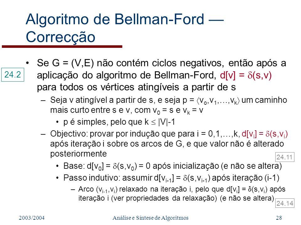Algoritmo de Bellman-Ford — Correcção