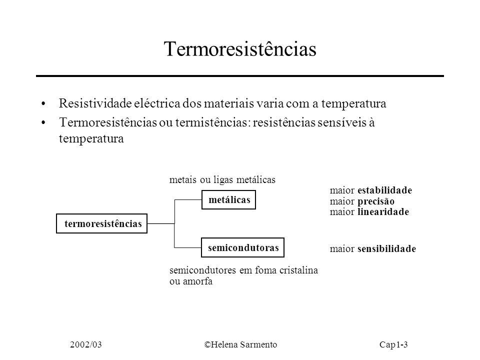 Termoresistências Resistividade eléctrica dos materiais varia com a temperatura.