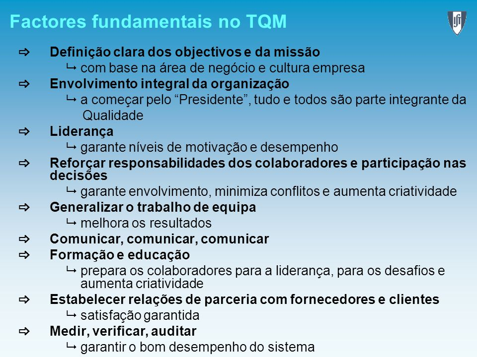 Factores fundamentais no TQM