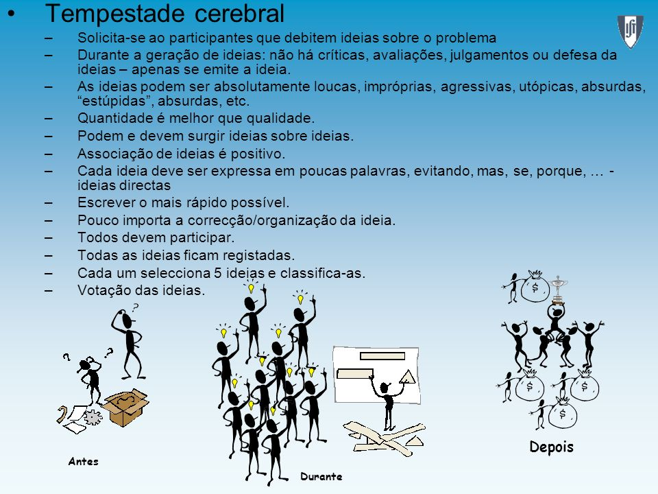 Tempestade cerebralSolicita-se ao participantes que debitem ideias sobre o problema.