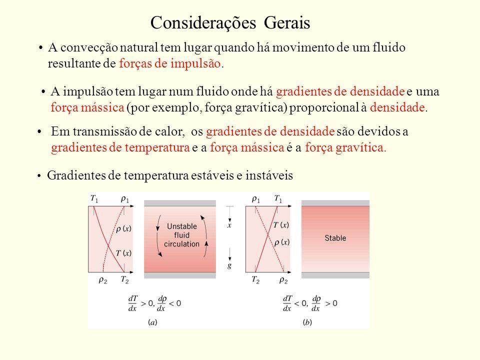 Considerações GeraisA convecção natural tem lugar quando há movimento de um fluido resultante de forças de impulsão.