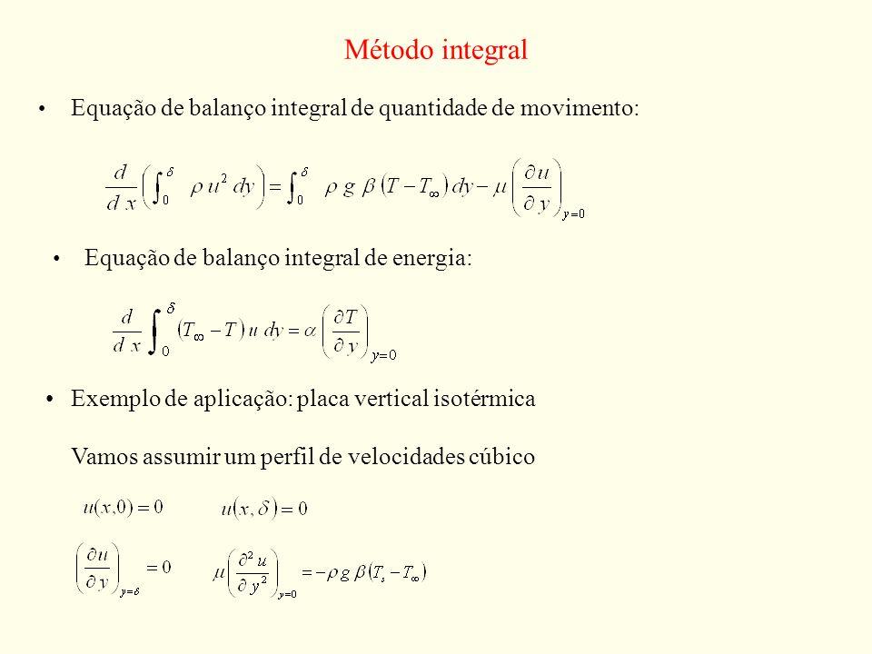 Método integralEquação de balanço integral de quantidade de movimento: Equação de balanço integral de energia: