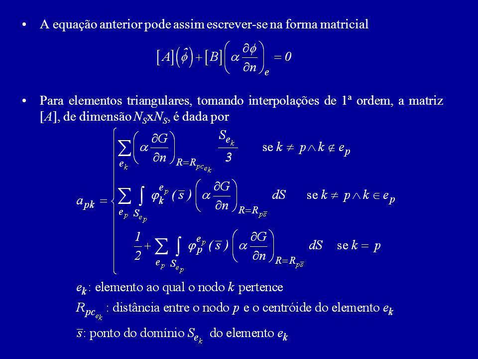 A equação anterior pode assim escrever-se na forma matricial