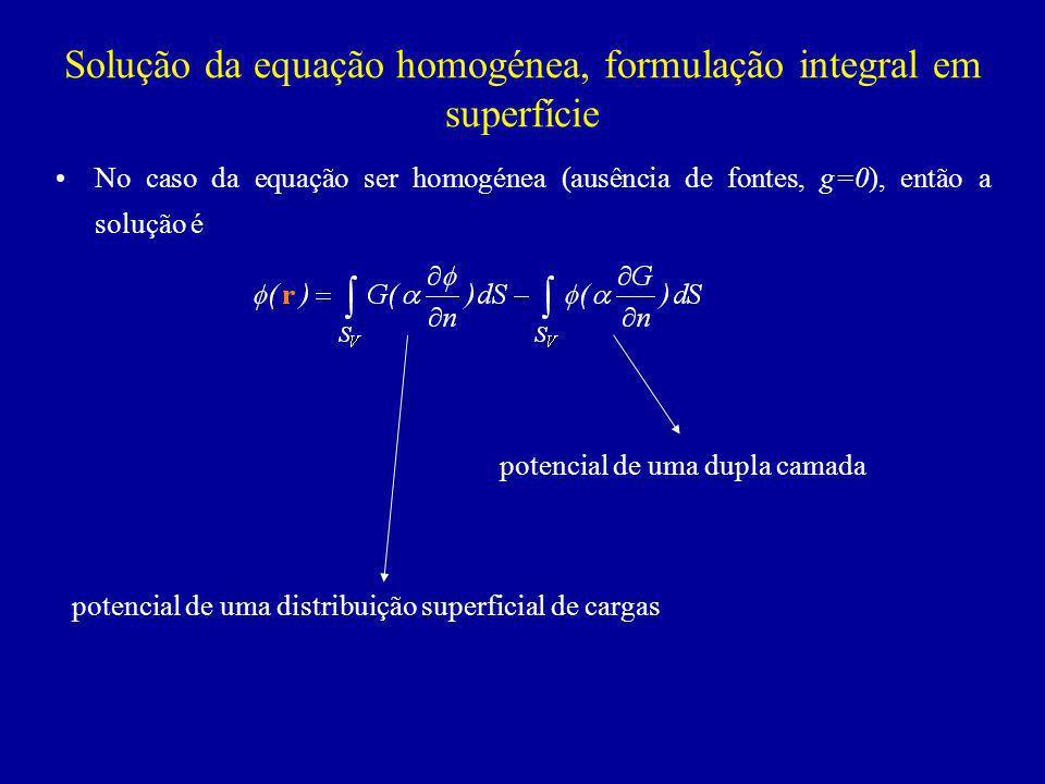Solução da equação homogénea, formulação integral em superfície