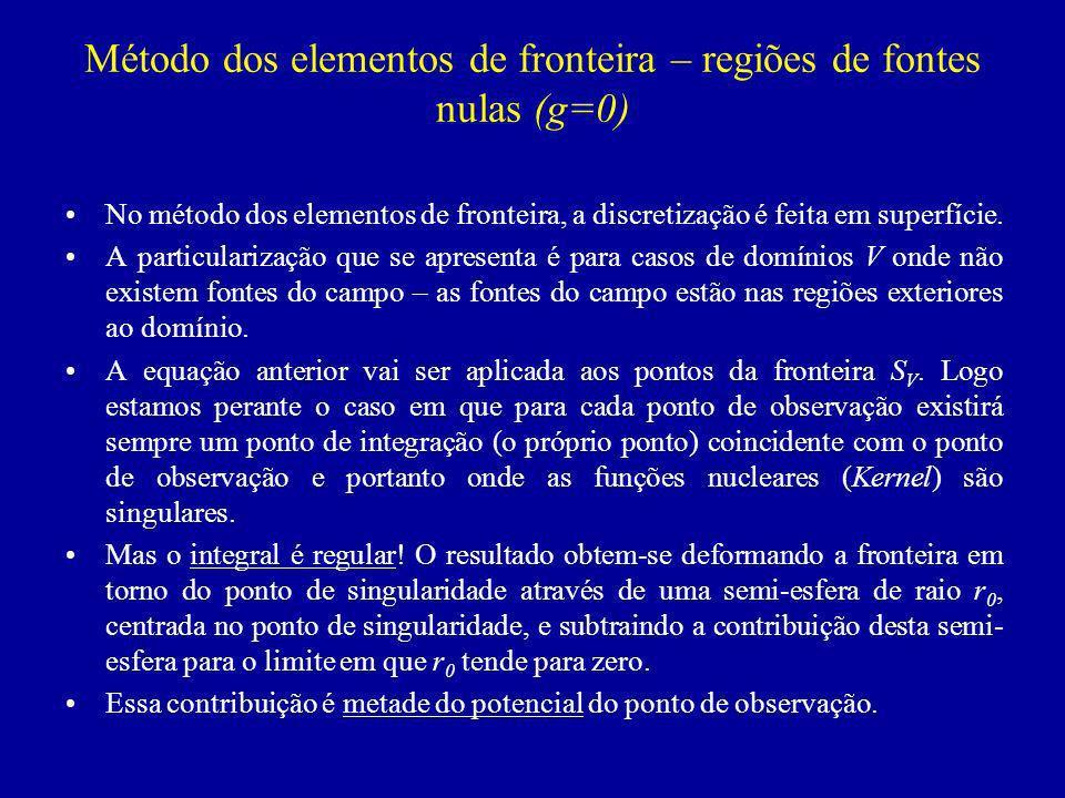 Método dos elementos de fronteira – regiões de fontes nulas (g=0)
