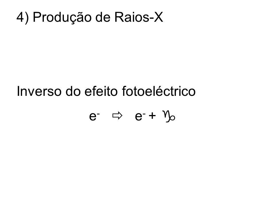 4) Produção de Raios-X Inverso do efeito fotoeléctrico e-  e- + 