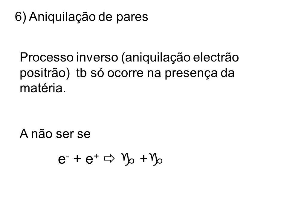 e- + e+   + 6) Aniquilação de pares