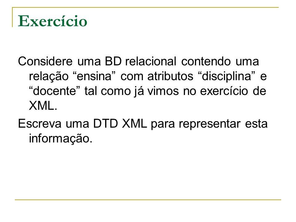 Exercício Considere uma BD relacional contendo uma relação ensina com atributos disciplina e docente tal como já vimos no exercício de XML.