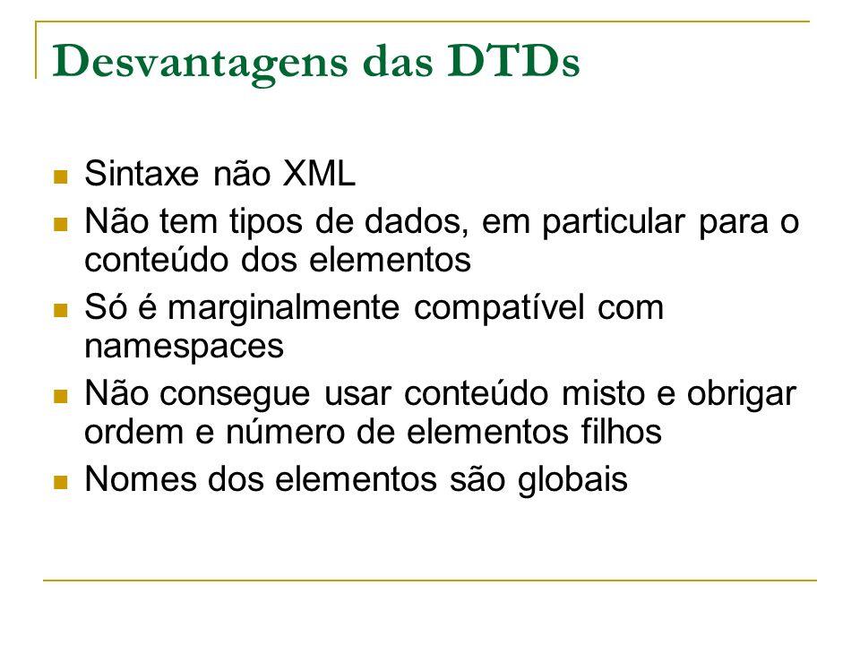 Desvantagens das DTDs Sintaxe não XML