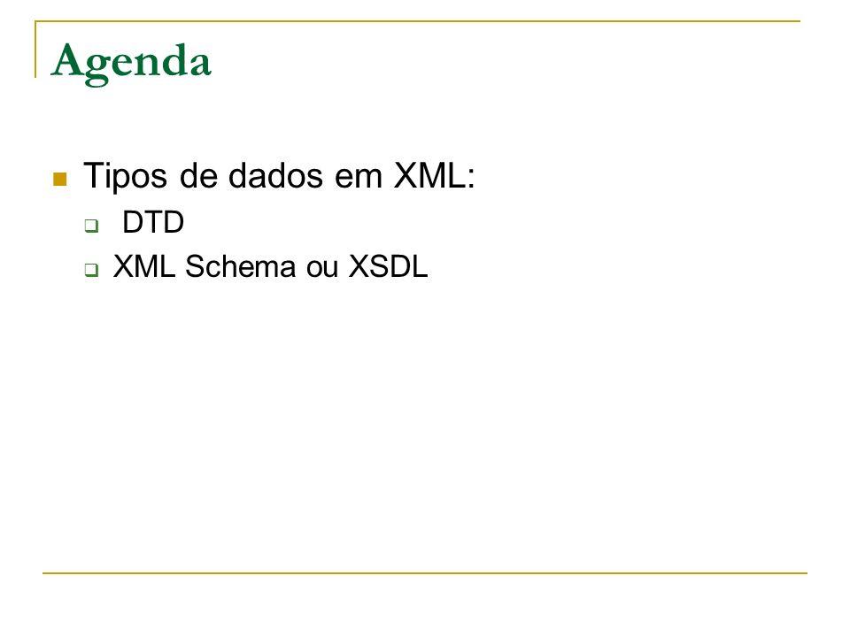 Agenda Tipos de dados em XML: DTD XML Schema ou XSDL