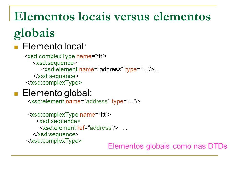 Elementos locais versus elementos globais