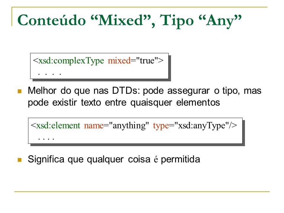 Conteúdo Mixed , Tipo Any