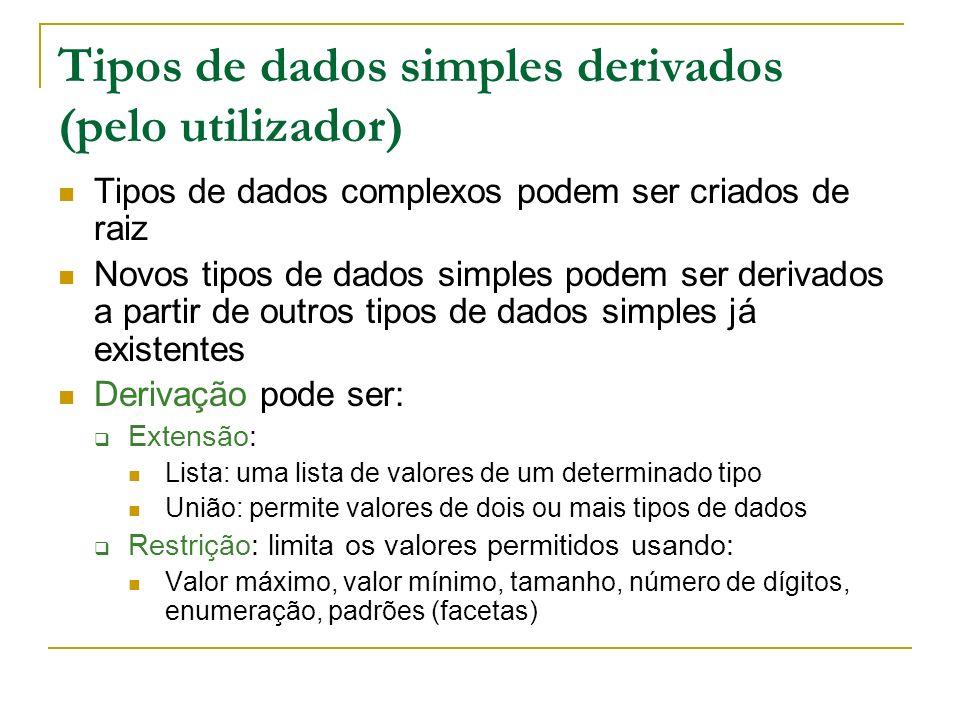 Tipos de dados simples derivados (pelo utilizador)