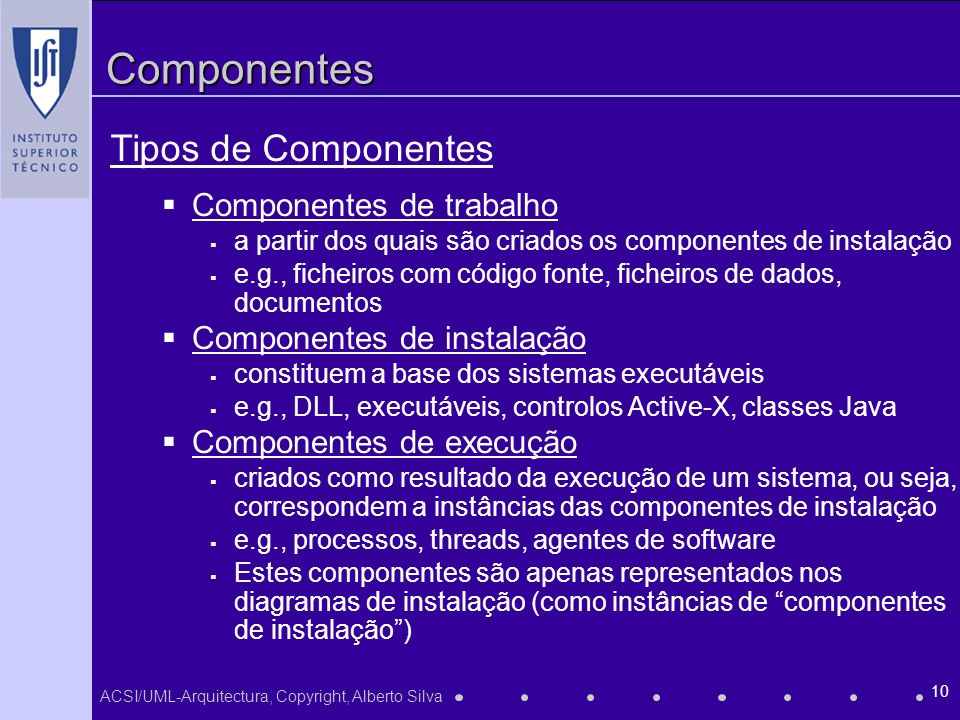 Componentes Tipos de Componentes Componentes de trabalho
