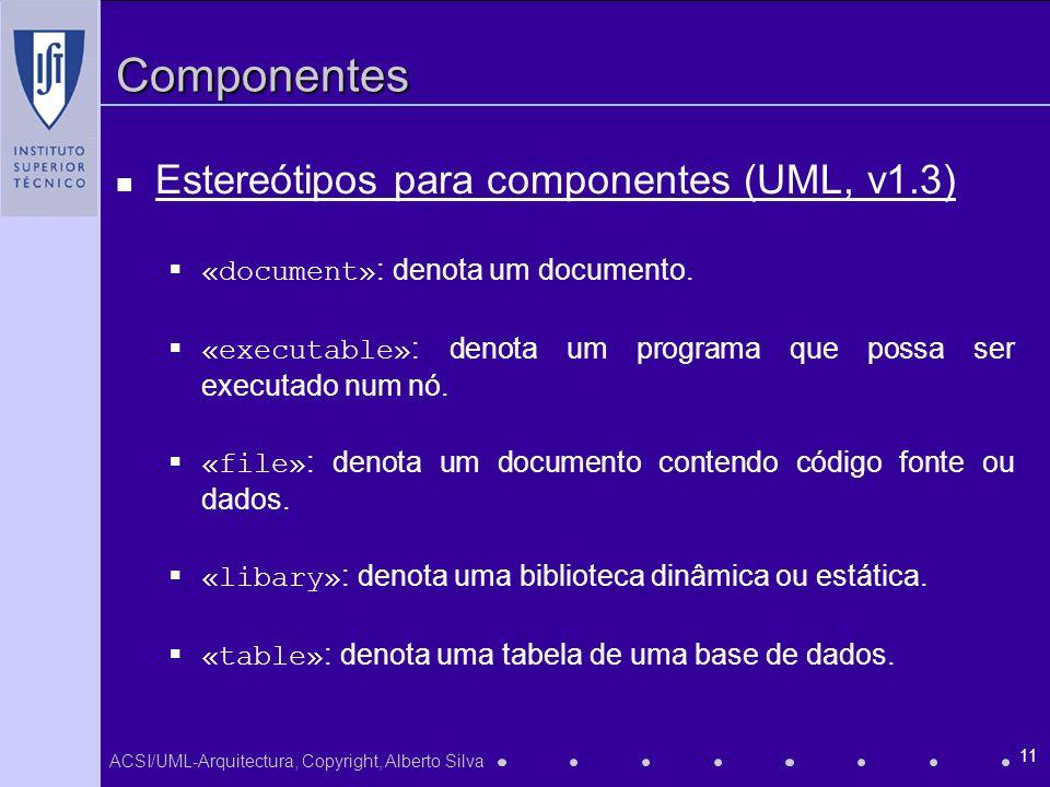 Componentes Estereótipos para componentes (UML, v1.3)