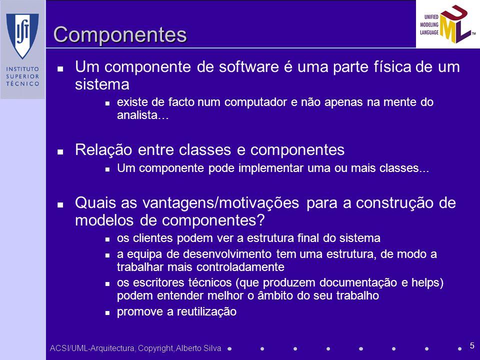 Componentes Um componente de software é uma parte física de um sistema