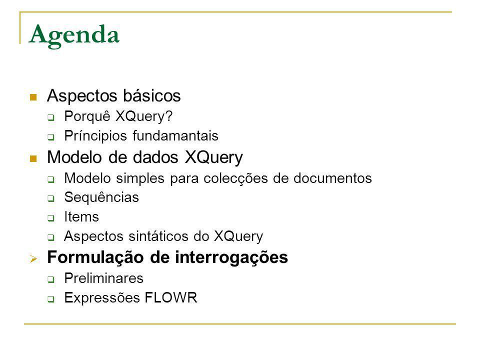 Agenda Aspectos básicos Modelo de dados XQuery