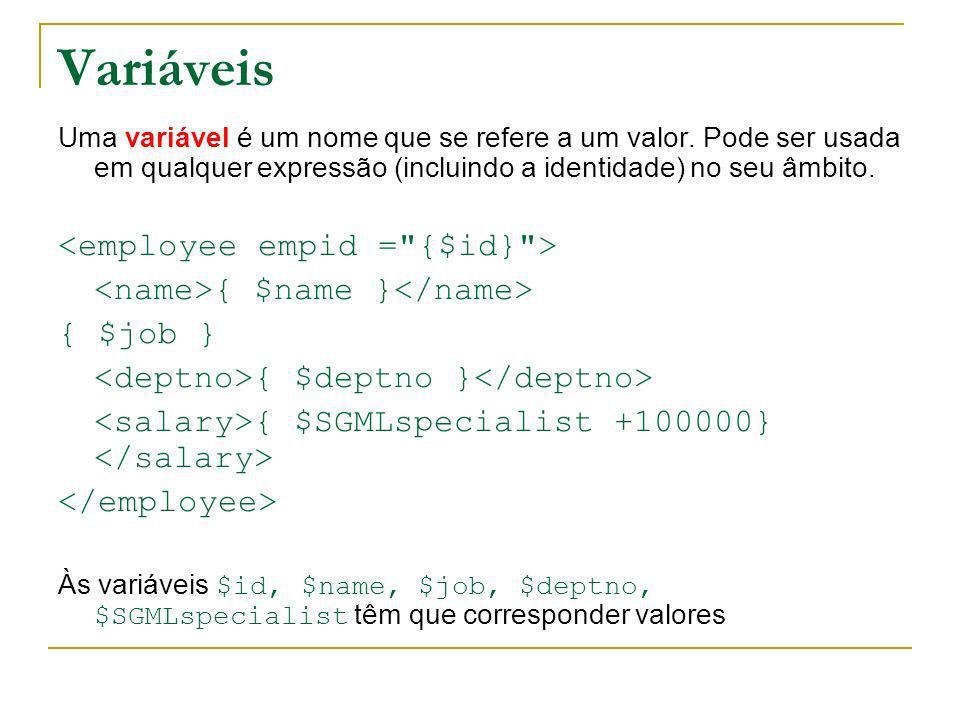 Variáveis <employee empid = {$id} >