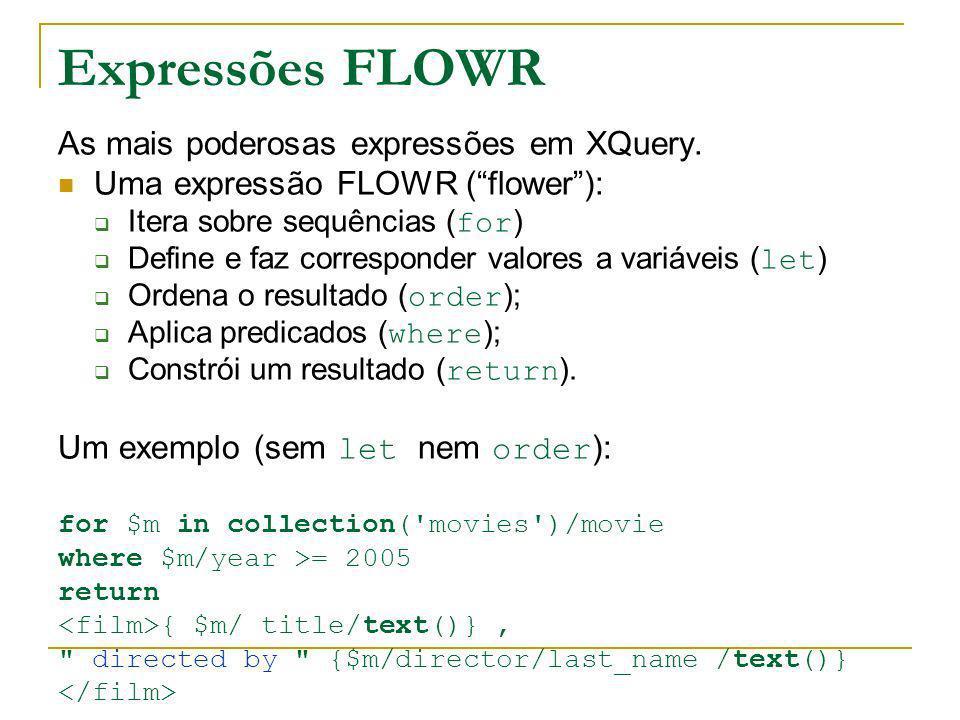 Expressões FLOWR As mais poderosas expressões em XQuery.