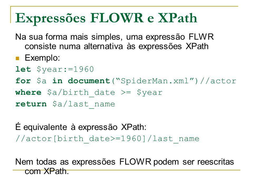 Expressões FLOWR e XPath