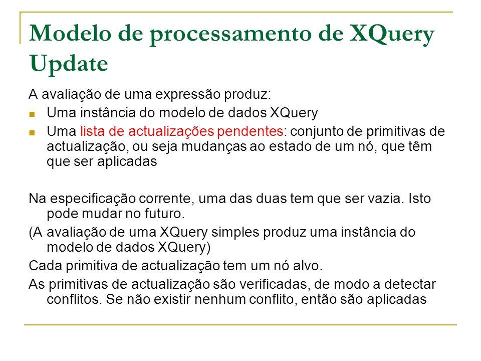 Modelo de processamento de XQuery Update