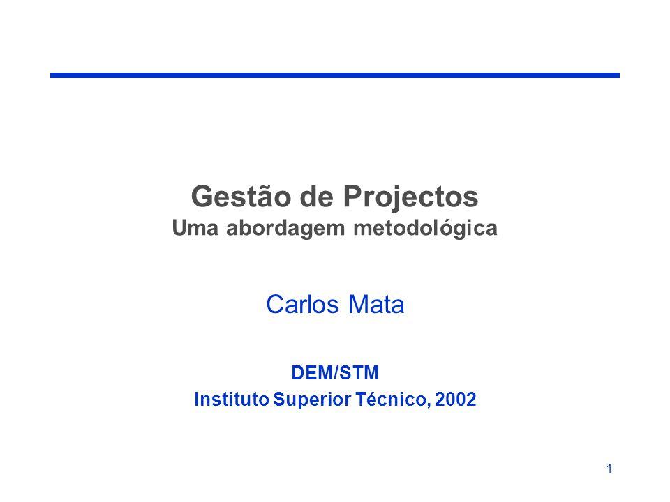 Gestão de Projectos Uma abordagem metodológica