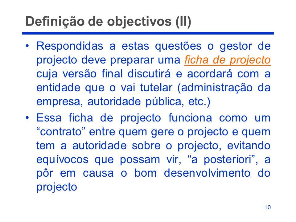 Definição de objectivos (II)