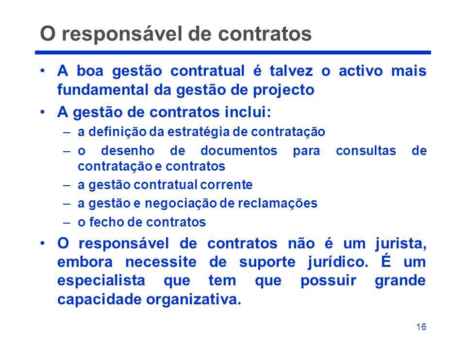 O responsável de contratos