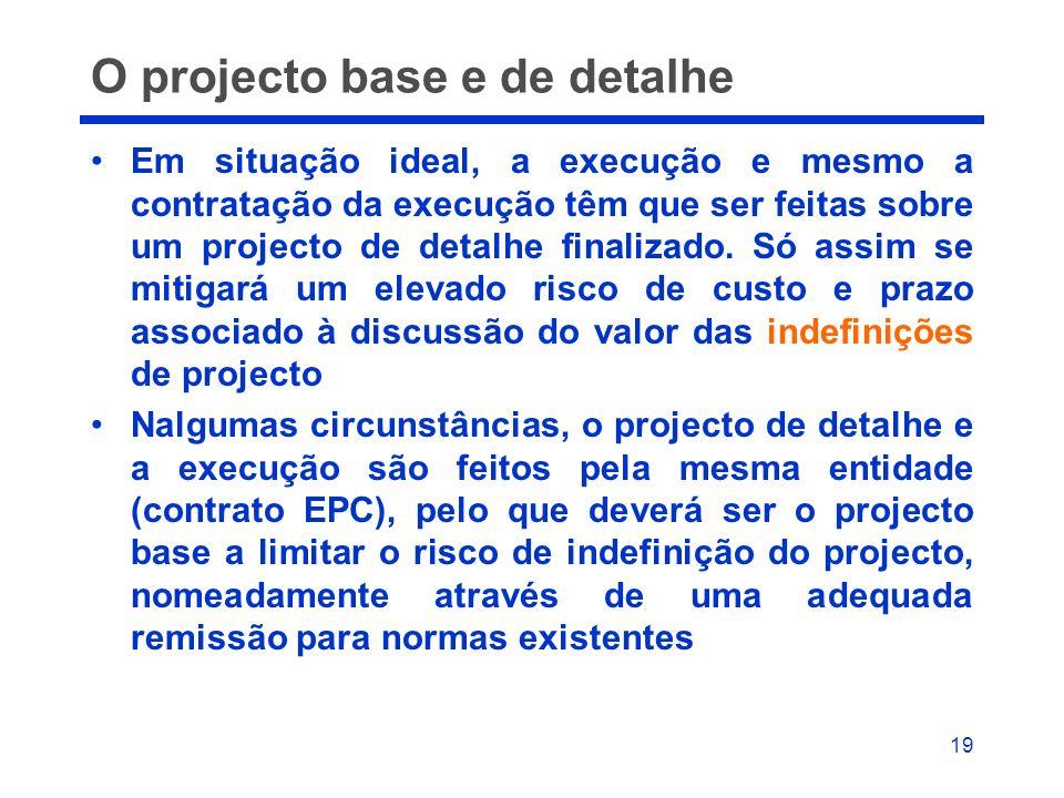 O projecto base e de detalhe